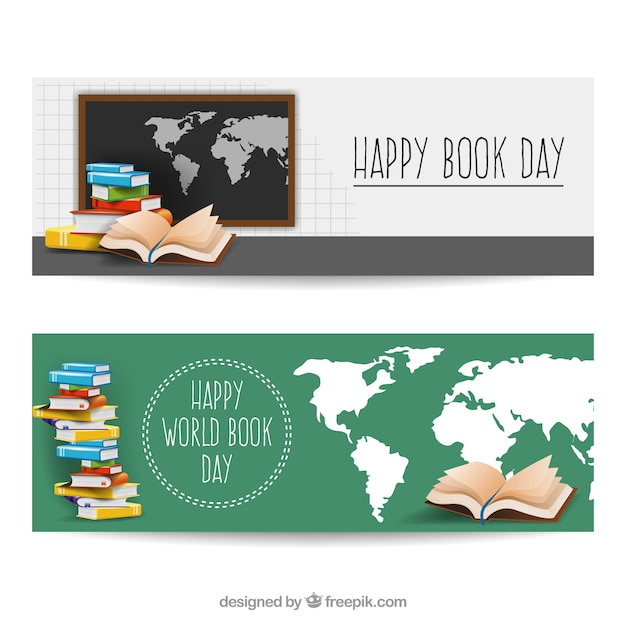 Realistic banners with world map and books vector free download realistic banners with world map and books free vector gumiabroncs Image collections