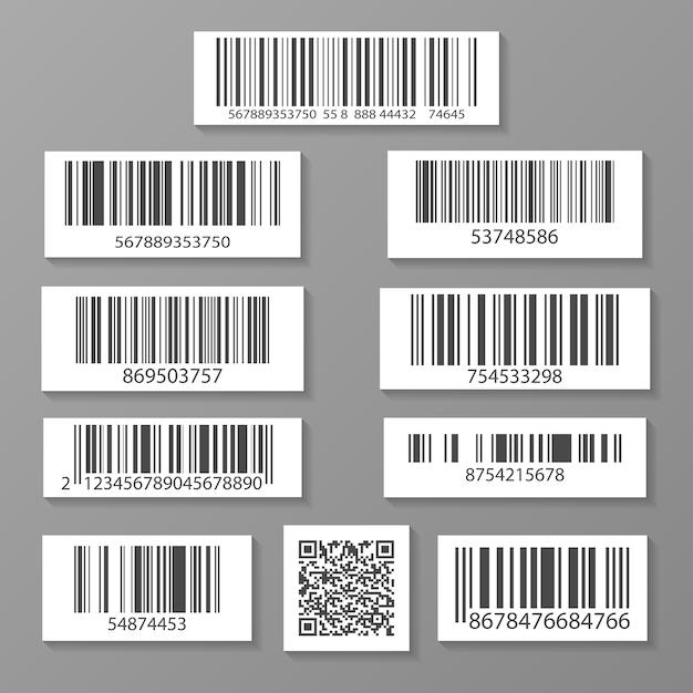 Realistic barcode icon set Premium Vector