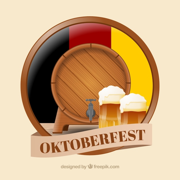 Realistic barrel and beer mugs with german flag