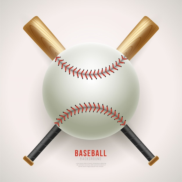 Realistic baseball ball and bat background Premium Vector