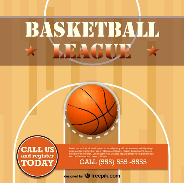 Realistic basketball court and ball Vector | Free Download