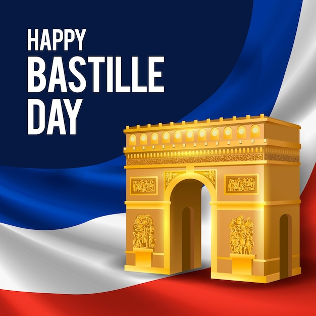 Realistic bastille day concept Free Vector