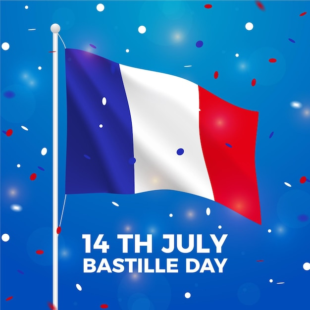 Realistic bastille day theme Free Vector