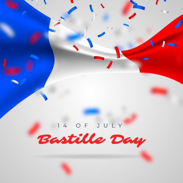 Realistic bastille day Free Vector