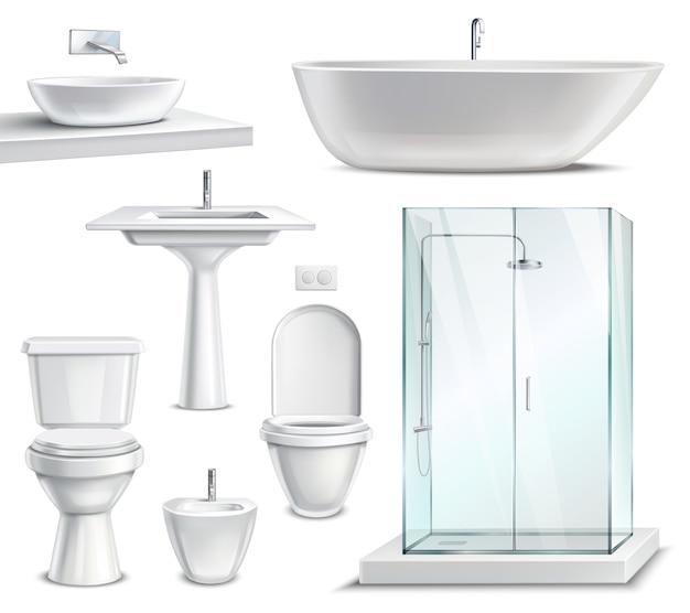 Реалистичный набор мебели для ванной Бесплатные векторы
