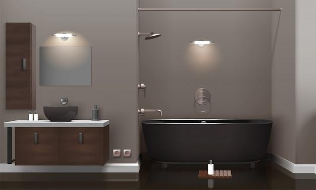 Realistic bathroom interior design Free Vector