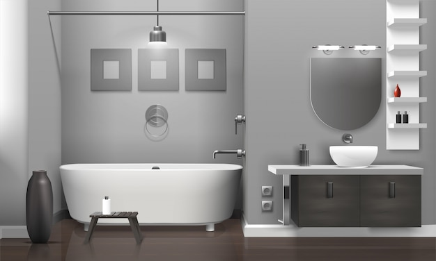 Realistic bathroom interior Free Vector