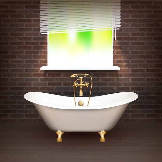 Realistic bathroom poster Free Vector