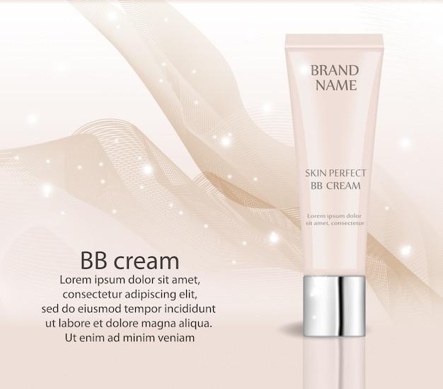 現実的なbbクリーム、化粧品のファンデーションデザインテンプレート。化粧、きれいな肌のコンセプト。トナーモックアップの3dチューブ。 Premiumベクター