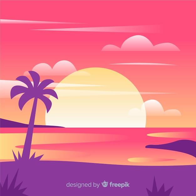 Realistic beach sunset landscape Free Vector