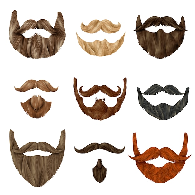Realistic beards and mustache set Free Vector