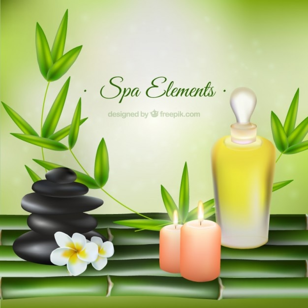 Realistic beauty products of spa with nature decoration Free Vector