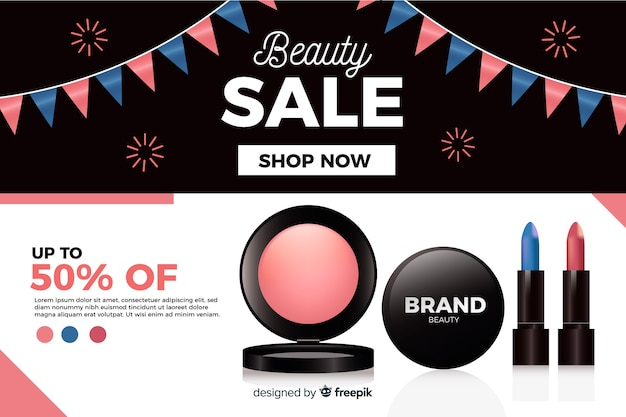 Realistic beauty sale ad template Free Vector
