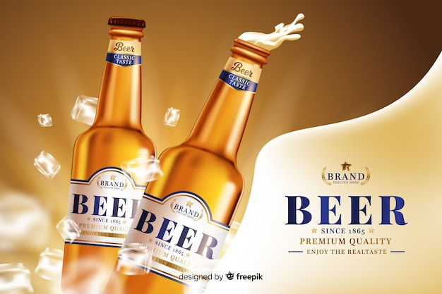 Realistic beer background Free Vector