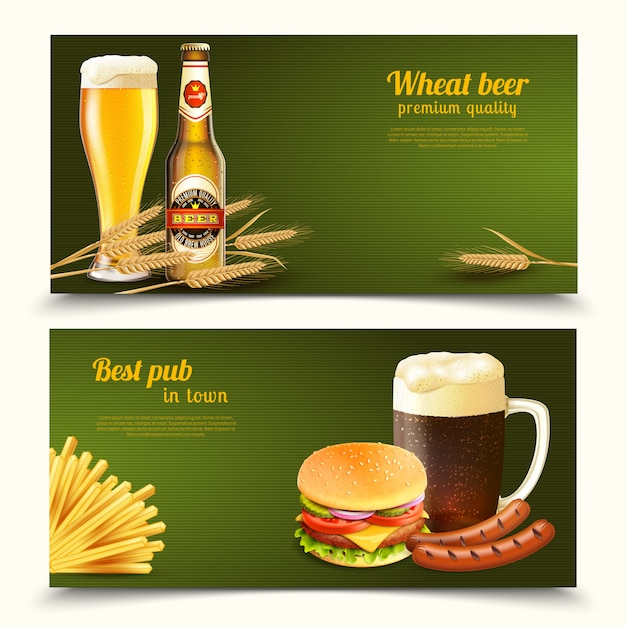 Realistic beer banners Free Vector