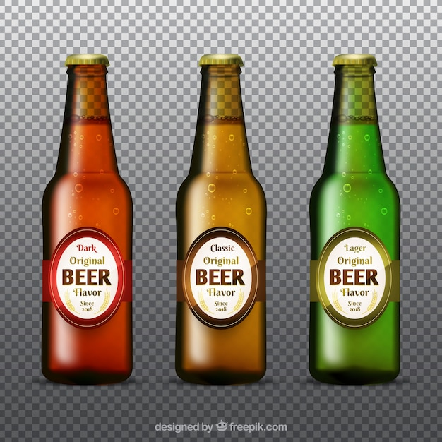 realistic beer bottle collection vector free download