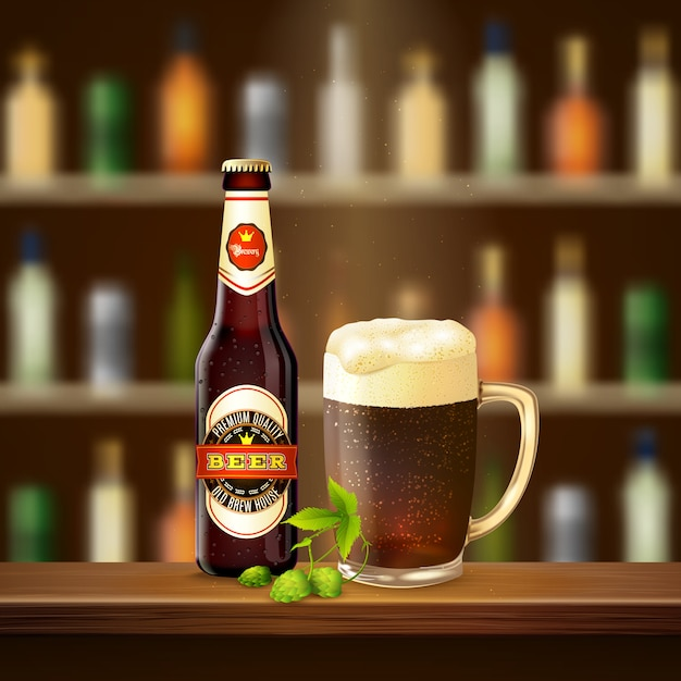 Realistic beer illustration Free Vector