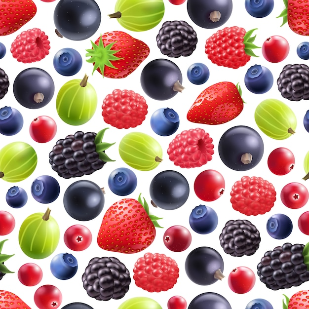 Realistic berries seamless pattern Free Vector