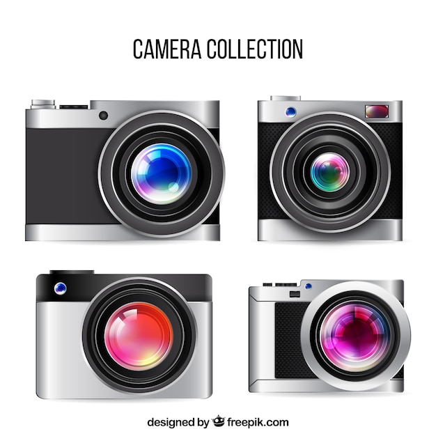 Realistic big lens modern cameras collection