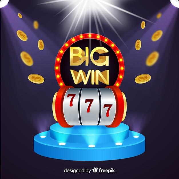 Realistic big win slot background Free Vector