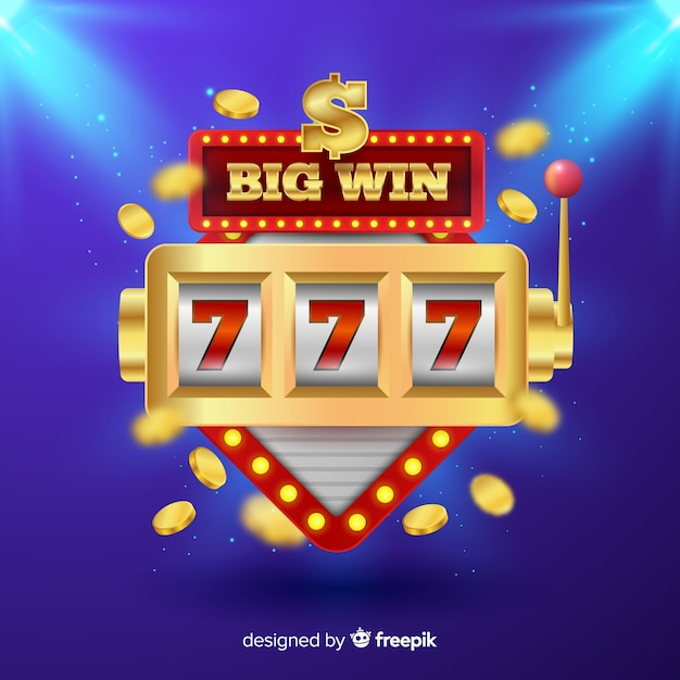 Realistic big win slot background Free Vector