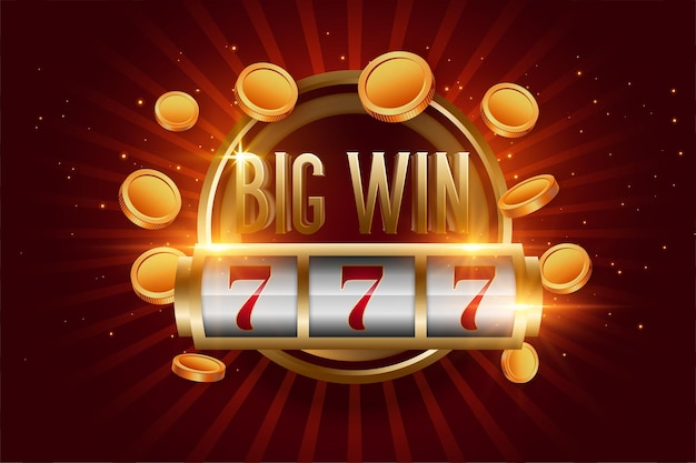 Realistic big win slot with golden coins Free Vector