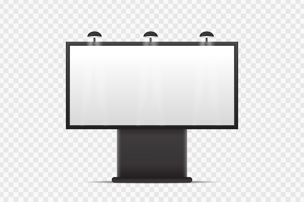 Realistic  billboard for covering on the transparent background. blank template mock up for decoration and advertising. Premium Vector