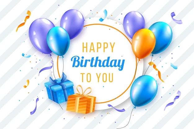 Реалистичный дизайн фона дня рождения Бесплатные векторы