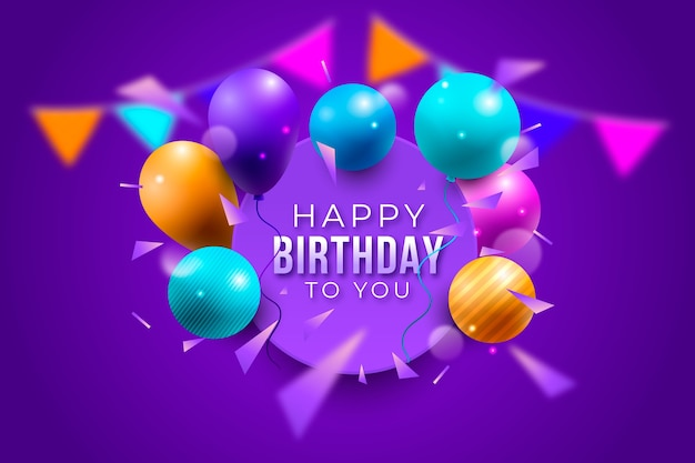 Realistic birthday background greeting Free Vector