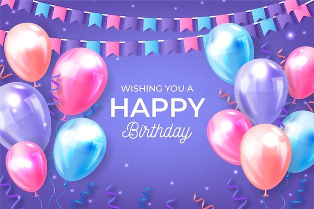 Реалистичные день рождения фон с шарами и гирляндами Бесплатные векторы