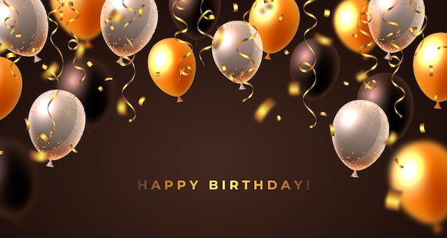 Realistic birthday background with balloons Free Vector