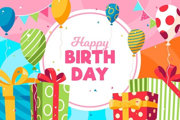 Реалистичный фон дня рождения с поздравлением Бесплатные векторы