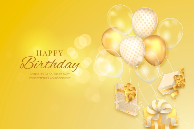Realistic birthday background Premium Vector