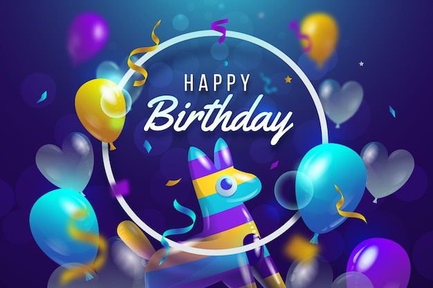 Realistic birthday background Free Vector