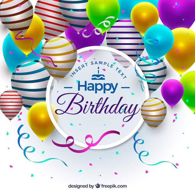 Realistic birthday ballons background Free Vector