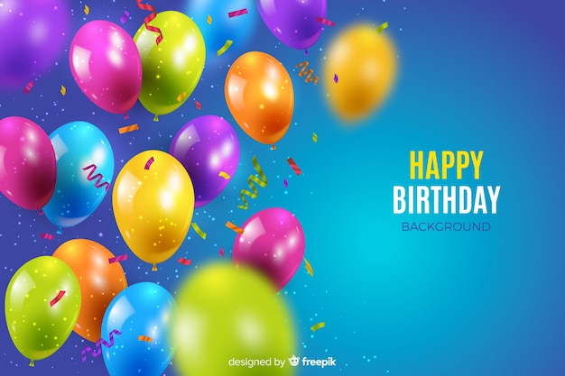 Realistic birthday balloon background Free Vector
