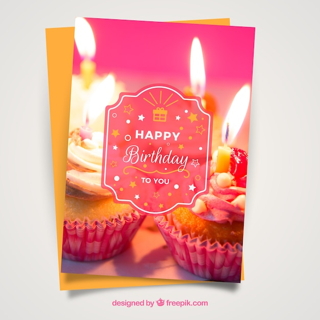 Realistic birthday card Free Vector