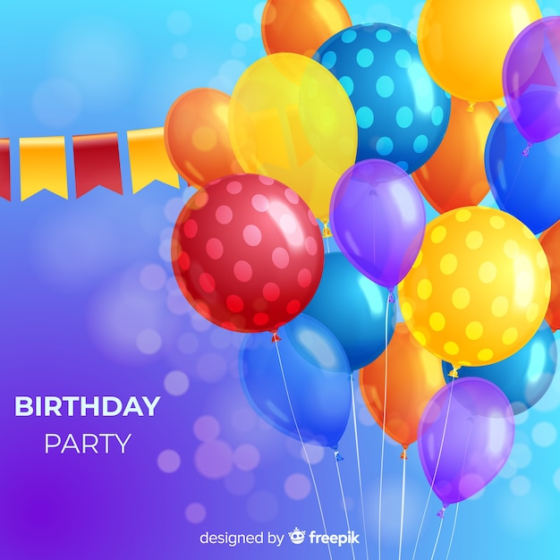 Realistic birthday party balloon background Free Vector