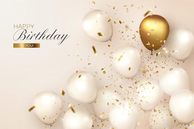 Реалистичный день рождения с белыми и золотыми шарами Бесплатные векторы