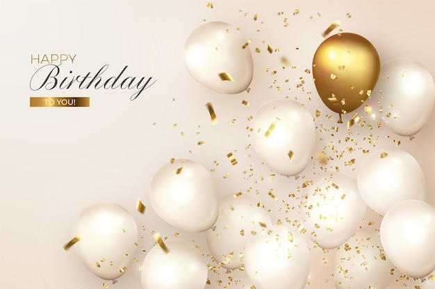 Realistic birthday with white and golden balloons Free Vector