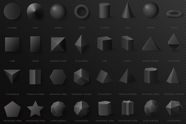 Realistic black basic geometric shapes in top and front view isolated on the dark alpha transperant background Premium Vector