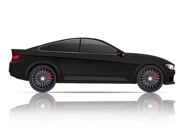 Реалистичный черный вид сбоку автомобиля купе. Premium векторы