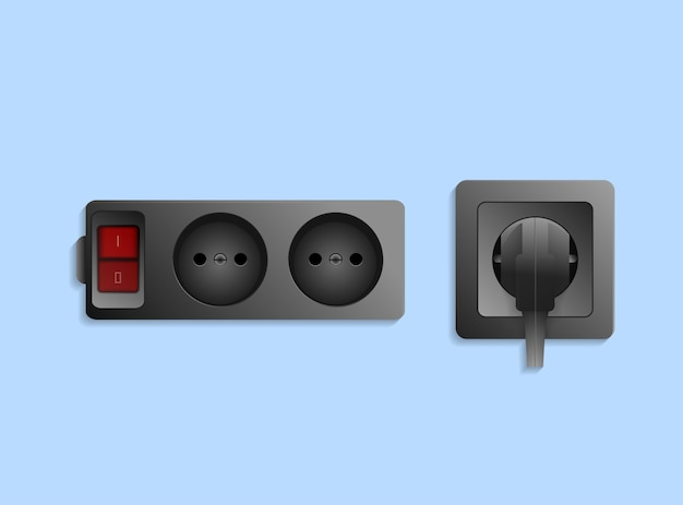 Realistic black electric outlet with plug Premium Vector