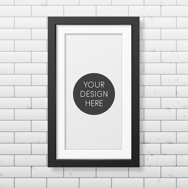 Realistic black frame  on the brick wall Premium Vector