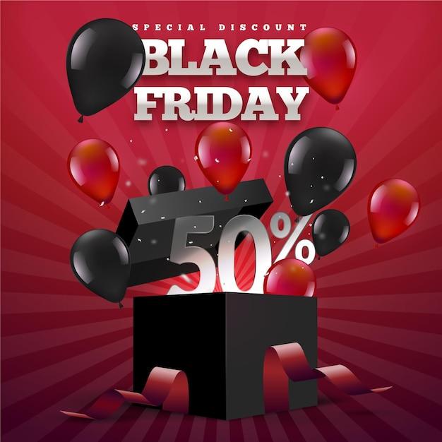 Palloncini realistici del venerdì nero e confezione regalo Vettore gratuito