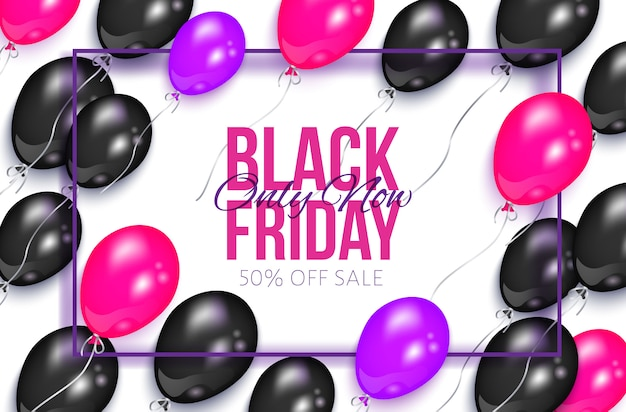 Realistic black friday banner with balloons Premium Vector