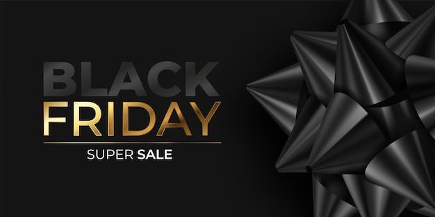 Banner realistico del black friday con fiocco nero Vettore gratuito
