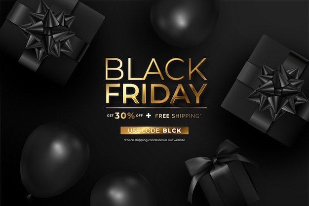 Realistic black friday banner with presents and balloons Free Vector