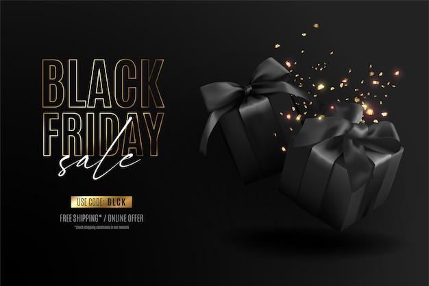 Banner realistico del venerdì nero con regali e coriandoli Vettore gratuito