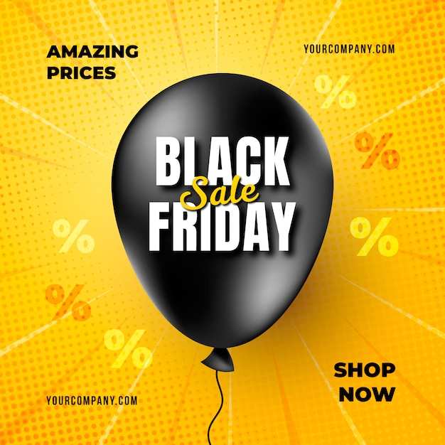 Realistic black friday banner wtih balloon Free Vector